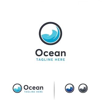 Modelo de logotipo do oceano