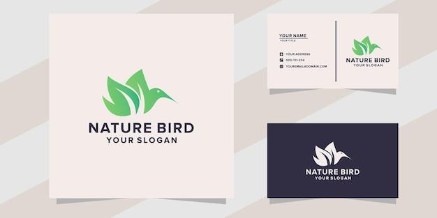 Modelo de logotipo do pássaro da natureza