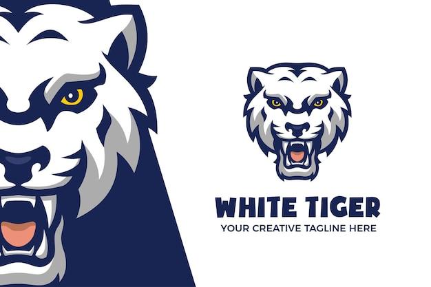 Modelo de logotipo do personagem animal tigre branco selvagem mascote