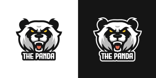 Modelo de logotipo do personagem da mascote do panda selvagem roaring