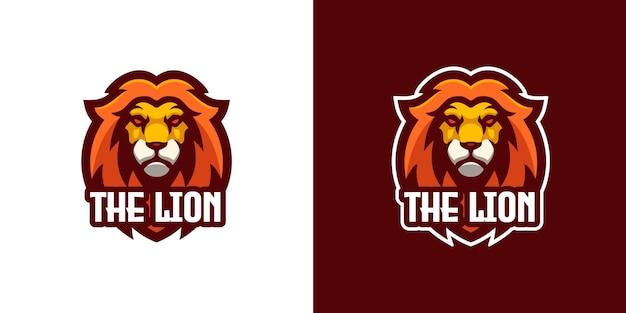 Modelo de logotipo do personagem leão selvagem mascote