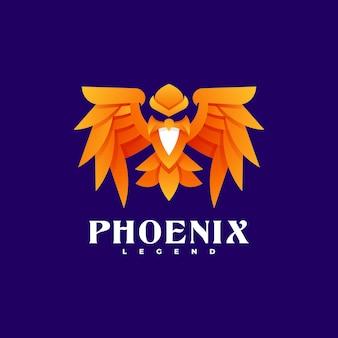 Modelo de logotipo do phoenix gradient colorful style