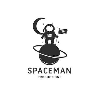 Modelo de logotipo do planeta astronauta