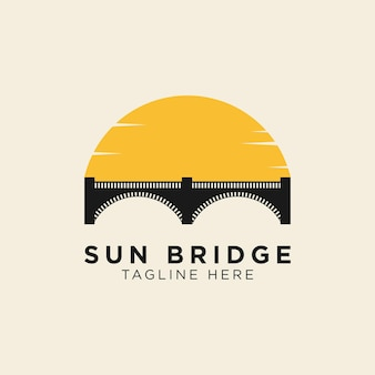 Modelo de logotipo do pôr do sol e ponte