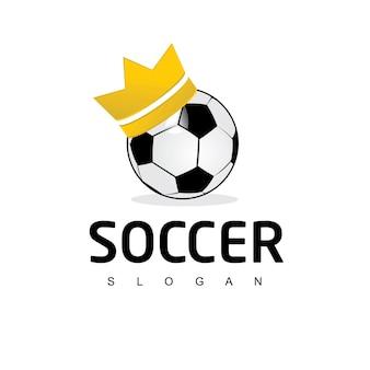 Modelo de logotipo do rei bola de futebol