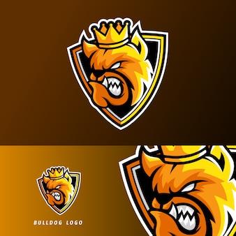 Modelo de logotipo do rei buldogue cão animal esport jogos mascote