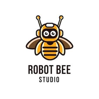Modelo de logotipo do robô abelha estúdio