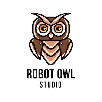 Modelo de logotipo do robô coruja estúdio
