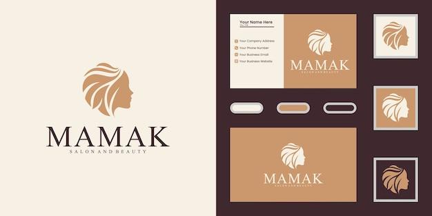 Modelo de logotipo do salão de beleza de beleza feminina e inspiração de cartão de visita