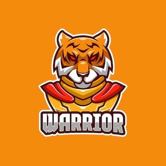 Modelo de logotipo do tiger warrior e-sport