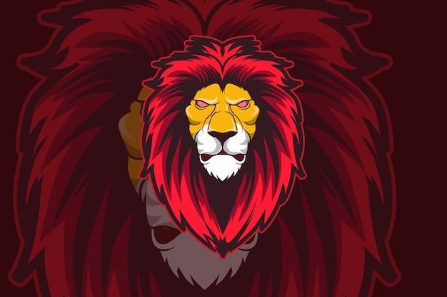 Modelo de logotipo do time de e-sports do líder do leão