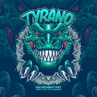 Modelo de logotipo do tiranossauro