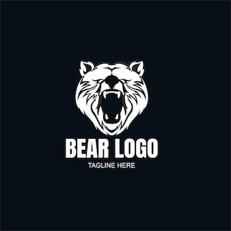 Modelo de logotipo do urso em preto e branco Vetor Premium