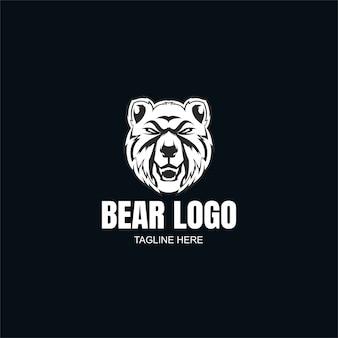 Modelo de logotipo do urso em preto e branco