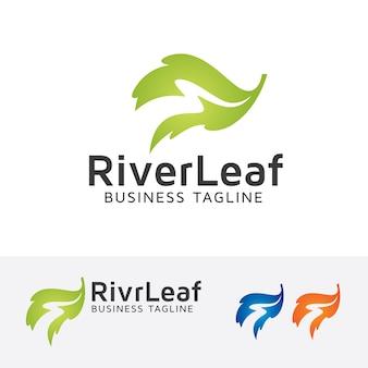 Modelo de logotipo do vetor da folha do rio