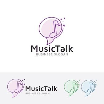 Modelo de logotipo do vetor de conversa musical