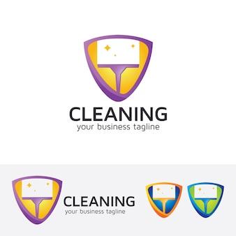 Modelo de logotipo do vetor de limpeza