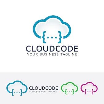 Modelo de logotipo do vetor do código da nuvem