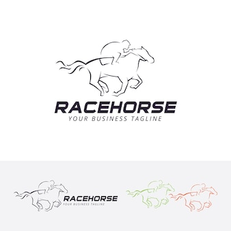Modelo de logotipo do vetor race horse Vetor Premium