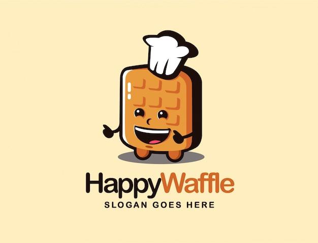 Modelo de logotipo dos desenhos animados de mascote de waffle