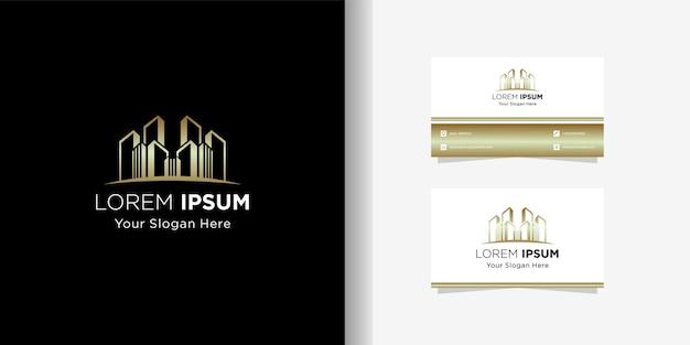 Modelo de logotipo dourado de belo edifício