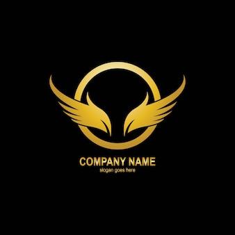 Modelo de logotipo dourado wings
