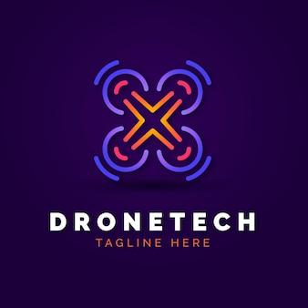 Modelo de logotipo drone gradiente criativo