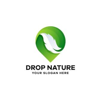 Modelo de logotipo drop nature gradient