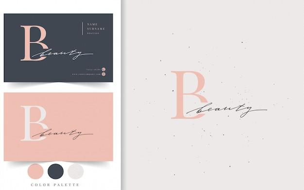 Modelo de logotipo e cartão de beleza.