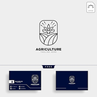Modelo de logotipo e cartão de fazenda de agricultura
