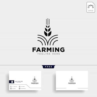 Modelo de logotipo e cartão de fazenda