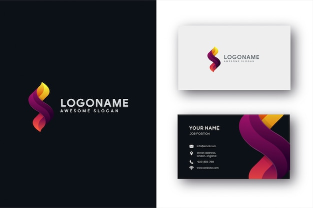 Modelo de logotipo e cartão de letra s