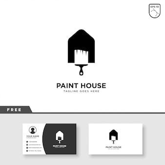 Modelo de logotipo e cartão de pintura de casa