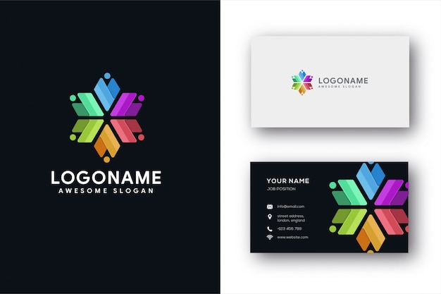 Modelo de logotipo e cartão de trabalho em equipe abstrata