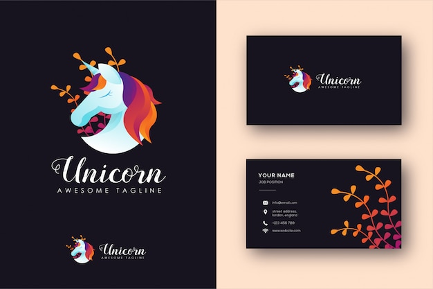 Modelo de logotipo e cartão de unicórnio