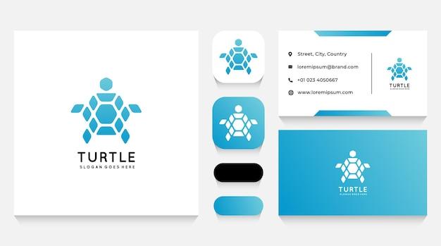 Modelo de logotipo e cartão de visita abstratos da tartaruga
