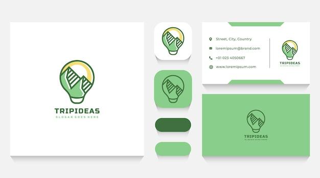 Modelo de logotipo e cartão de visita da ideia de viagem e montanhas