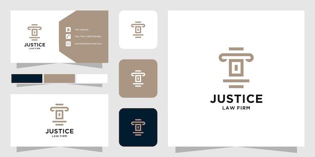 Modelo de logotipo e cartão de visita da initial o law firm