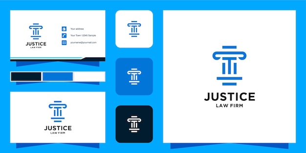 Modelo de logotipo e cartão de visita da initial t law firm