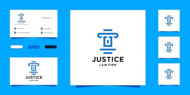 Modelo de logotipo e cartão de visita da initial u law firm