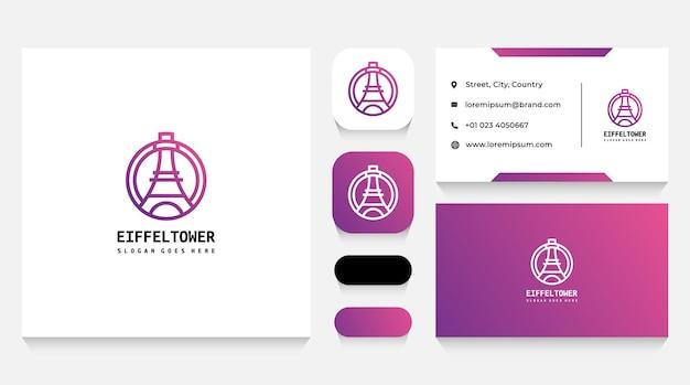 Modelo de logotipo e cartão de visita da torre eiffel