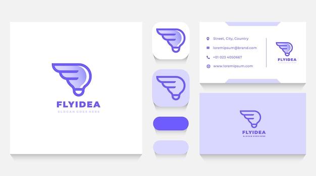Modelo de logotipo e cartão de visita de asas de ideia para lâmpada