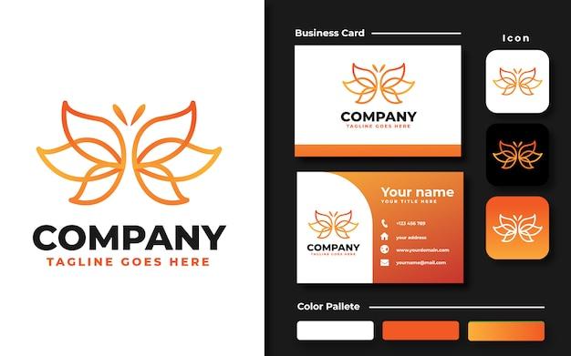 Modelo de logotipo e cartão de visita de borboleta em lineart