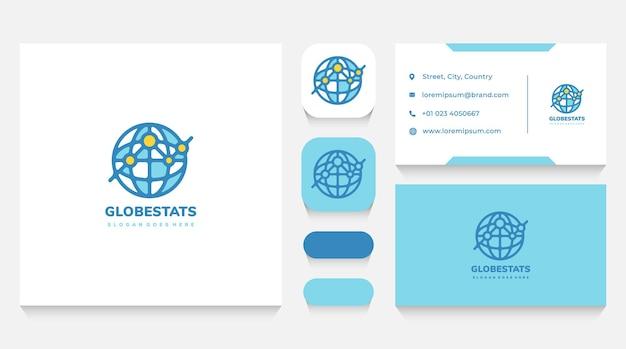 Modelo de logotipo e cartão de visita de economia global e estatísticas