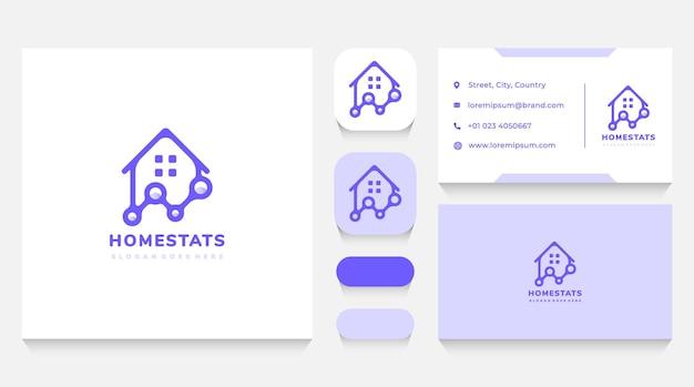 Modelo de logotipo e cartão de visita de estatísticas de imóveis e residências