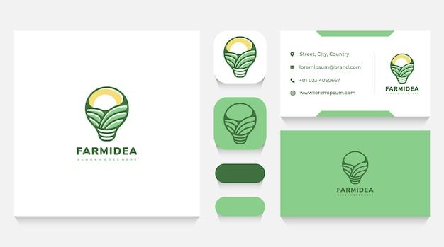 Modelo de logotipo e cartão de visita de ideias para agricultura e paisagem