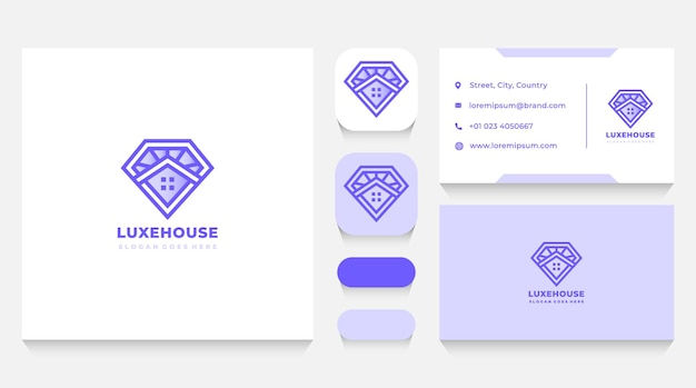 Modelo de logotipo e cartão de visita de luxo diamond house