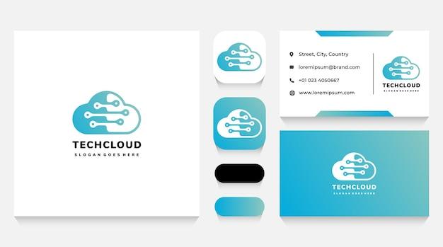 Modelo de logotipo e cartão de visita de tecnologia e dados em nuvem
