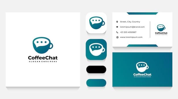 Modelo de logotipo e cartão de visita de xícara de café e bate-papo