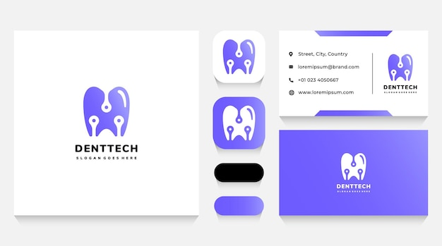Modelo de logotipo e cartão de visita dental tech